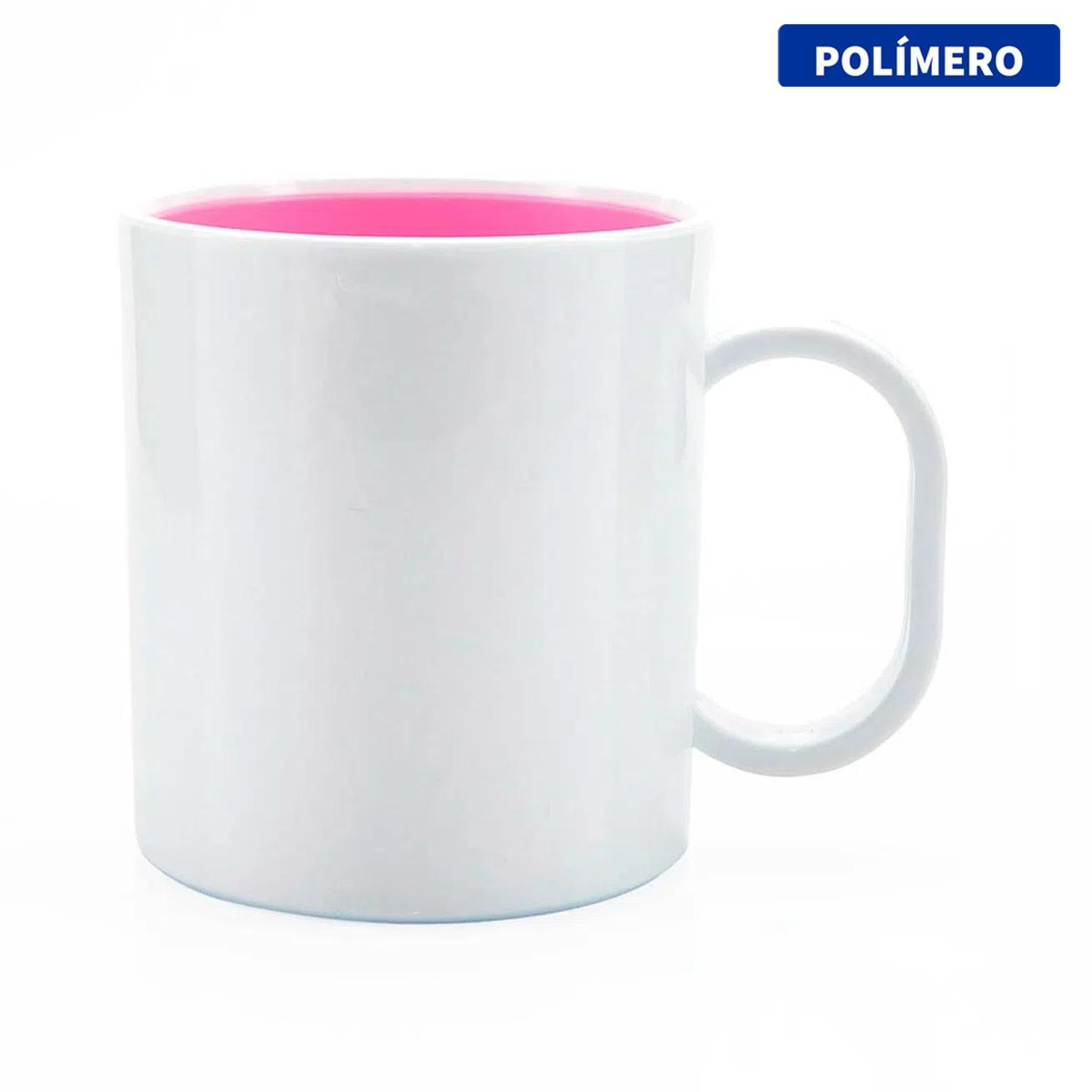 Caneca de Polímero Para Sublimação com Interior Rosa Chiclete - 325ml