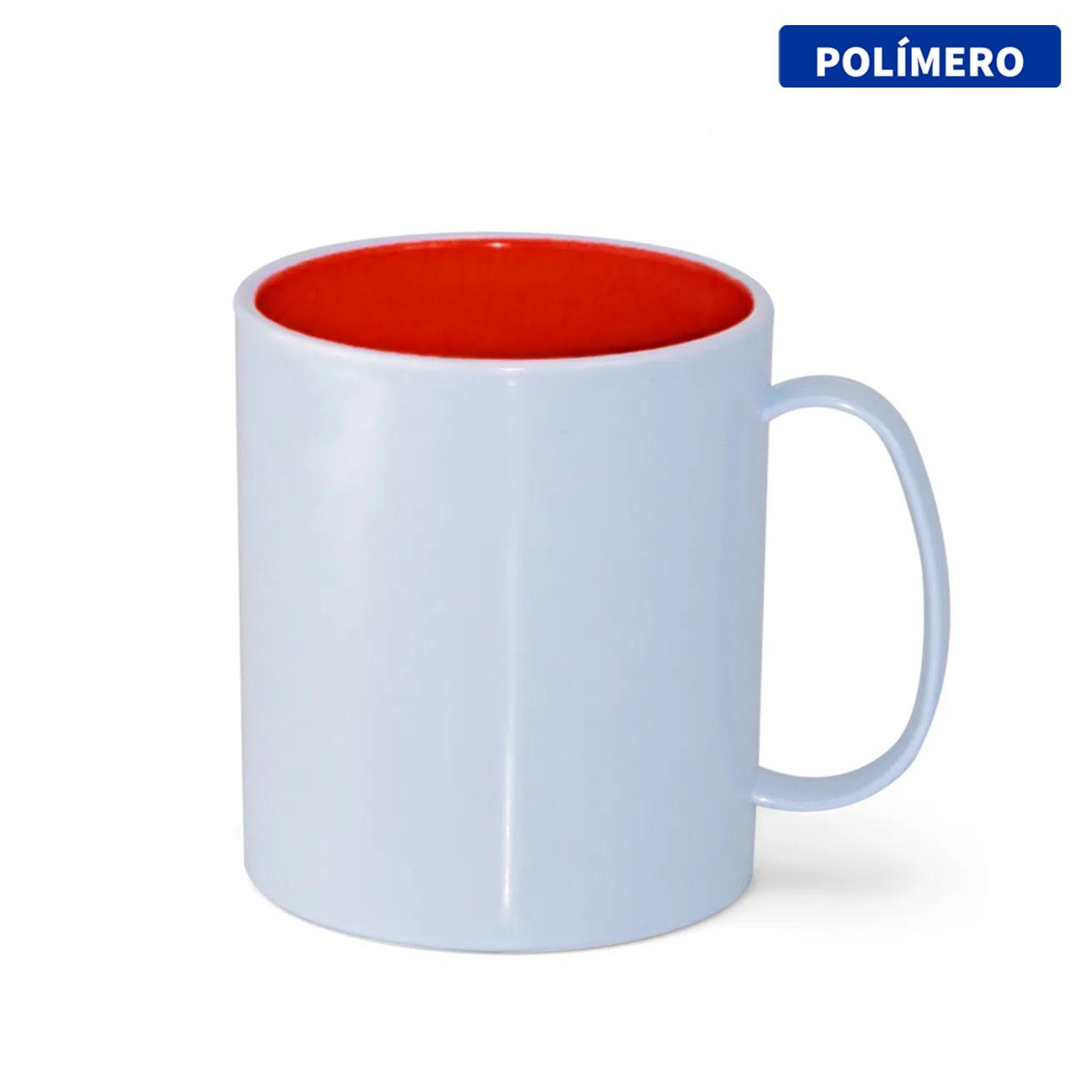 Caneca de Polímero Para Sublimação com Interior Vermelho - 325ml