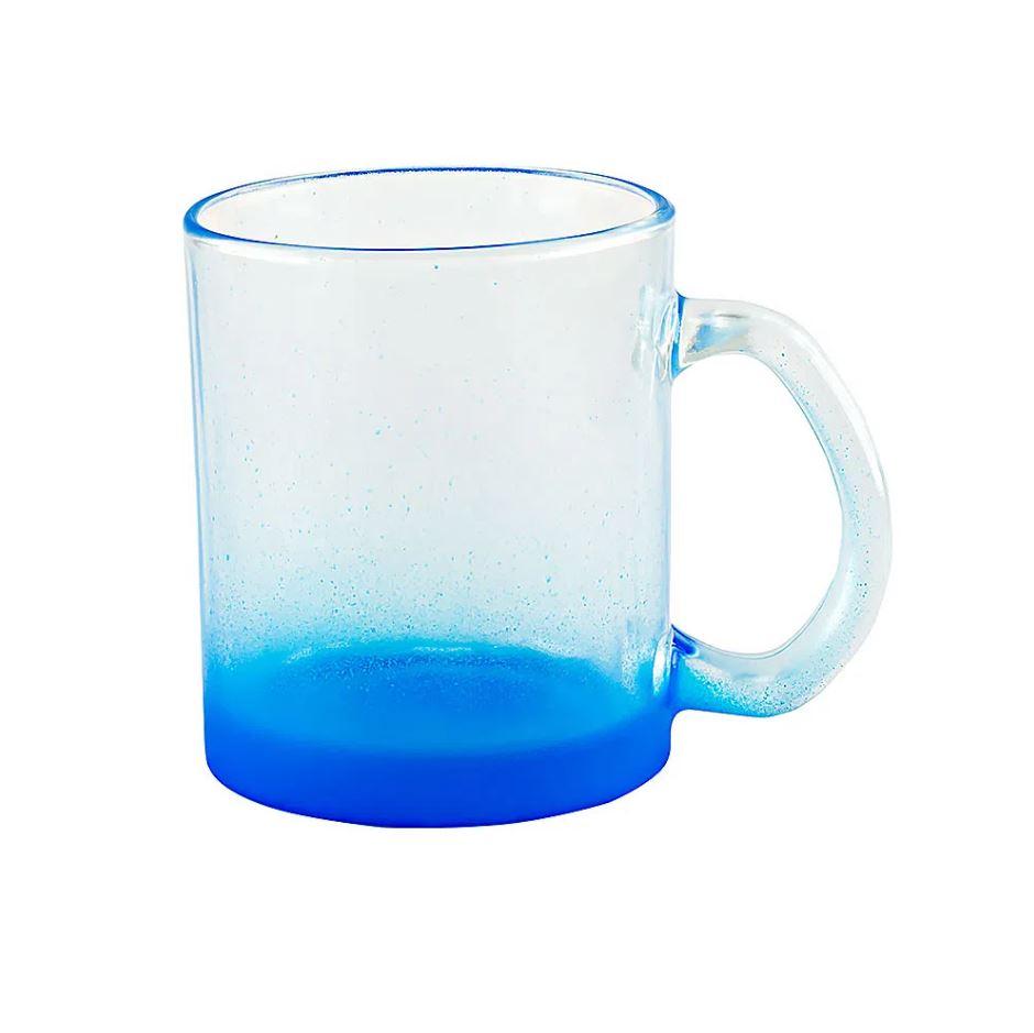 Caneca de Vidro Degradê Azul - 320ml - Sublime