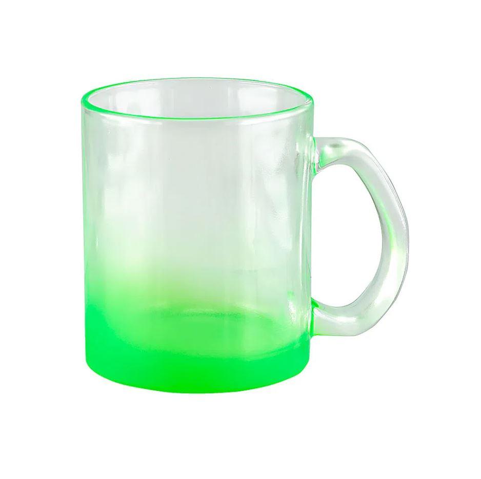 Caneca de Vidro Degradê Verde -320ml - Sublime