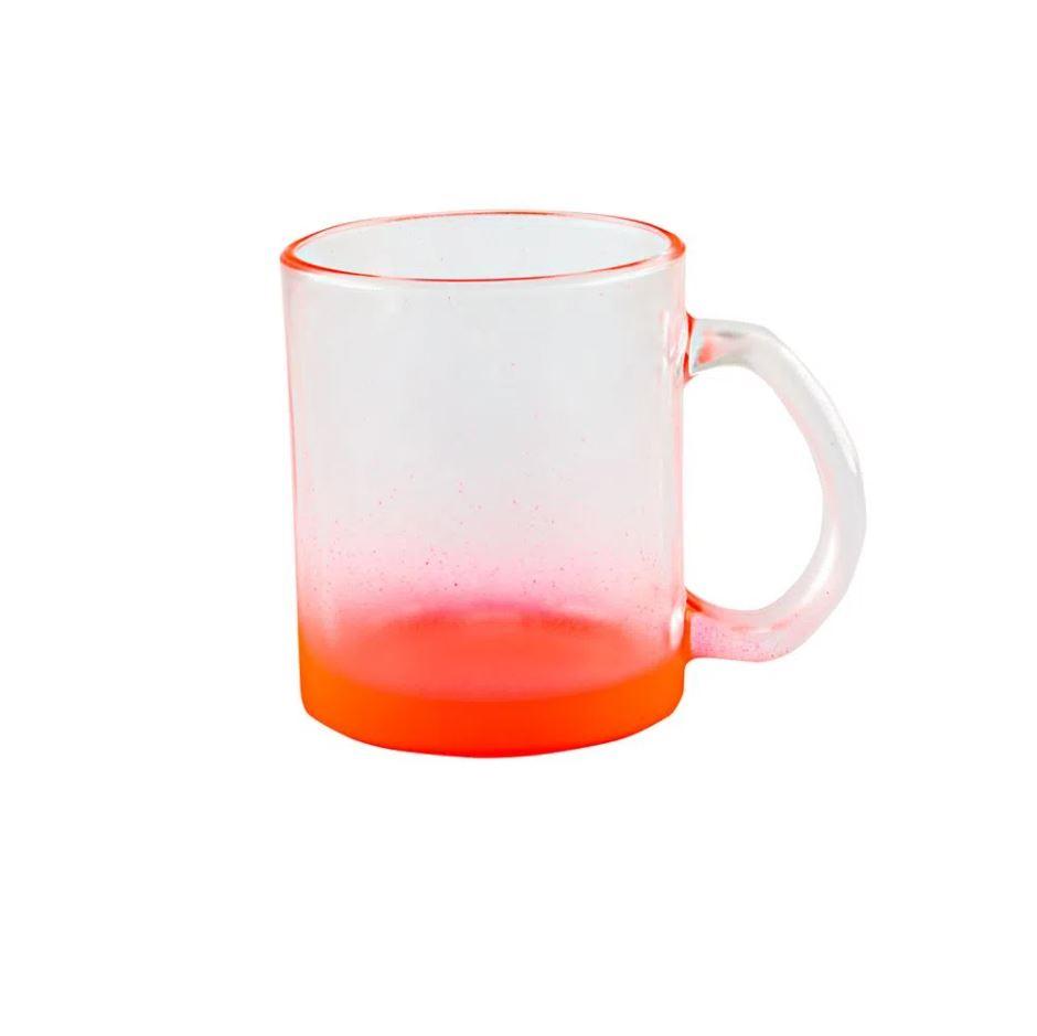 Caneca de Vidro Degradê Vermelha -320ml - Sublime
