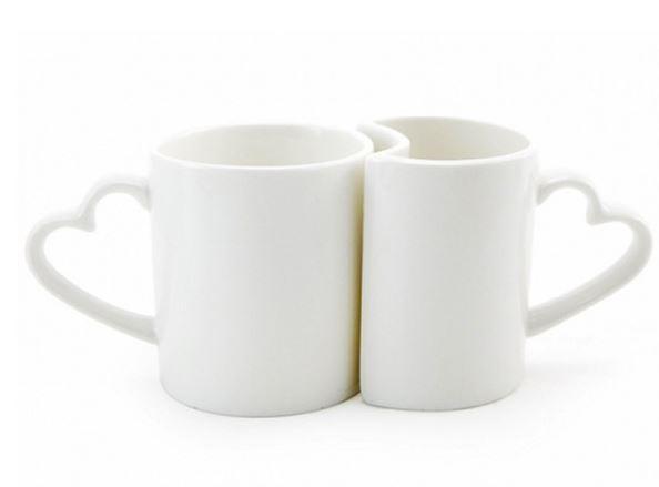 Caneca Dupla Love Branca de cerâmica para Sublimação  com Alça Coração - 325ml- LiVE SUB