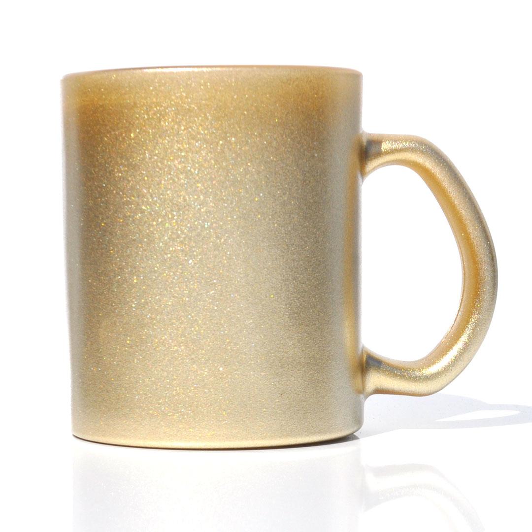 Caneca em Vidro Texturizado com Glitter - Dourada - Sublime - 300ml