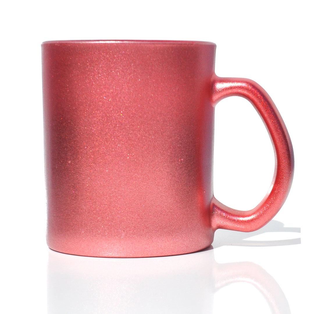 Caneca em Vidro Texturizado com Glitter - Vermelha - Sublime - 300ml