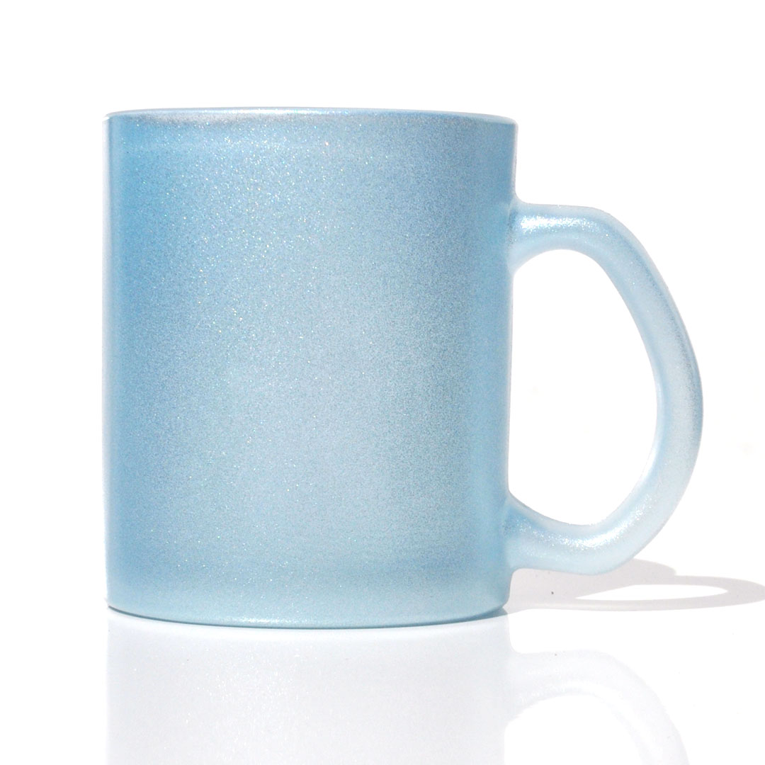Caneca em Vidro Texturizado com Glitter - Azul - Sublime - 300ml