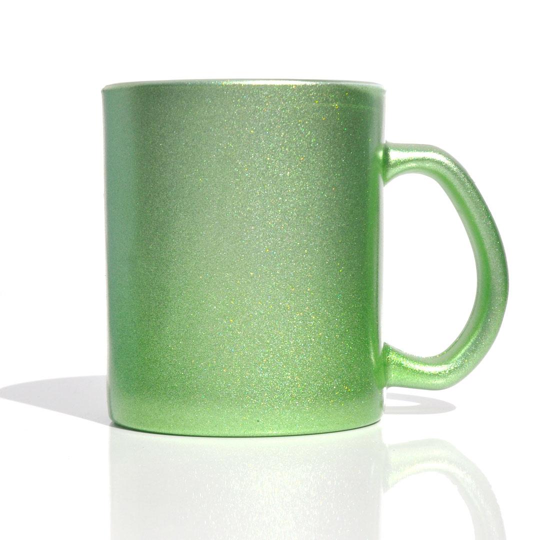 Caneca em Vidro Texturizado com Glitter - Verde - Sublime - 300ml