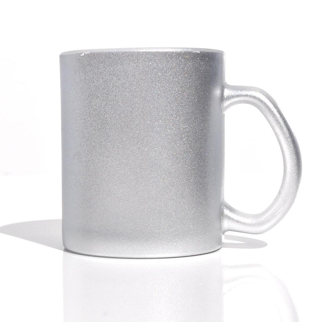 Caneca em Vidro Texturizado com Glitter - Prata - Sublime - 300ml