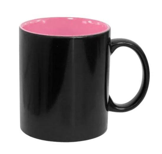 Caneca Mágica de Cerâmica para Sublimação Preta  Semi Brilho com Interno Rosa - 325ml - LiVE SUB