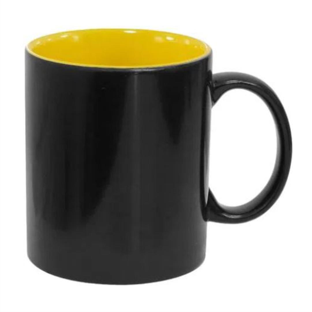 Caneca Mágica em Cerâmica p/ Sublimação Semi-Brilho  c/ Interior Amarelo - LiVE SUB - 325ml