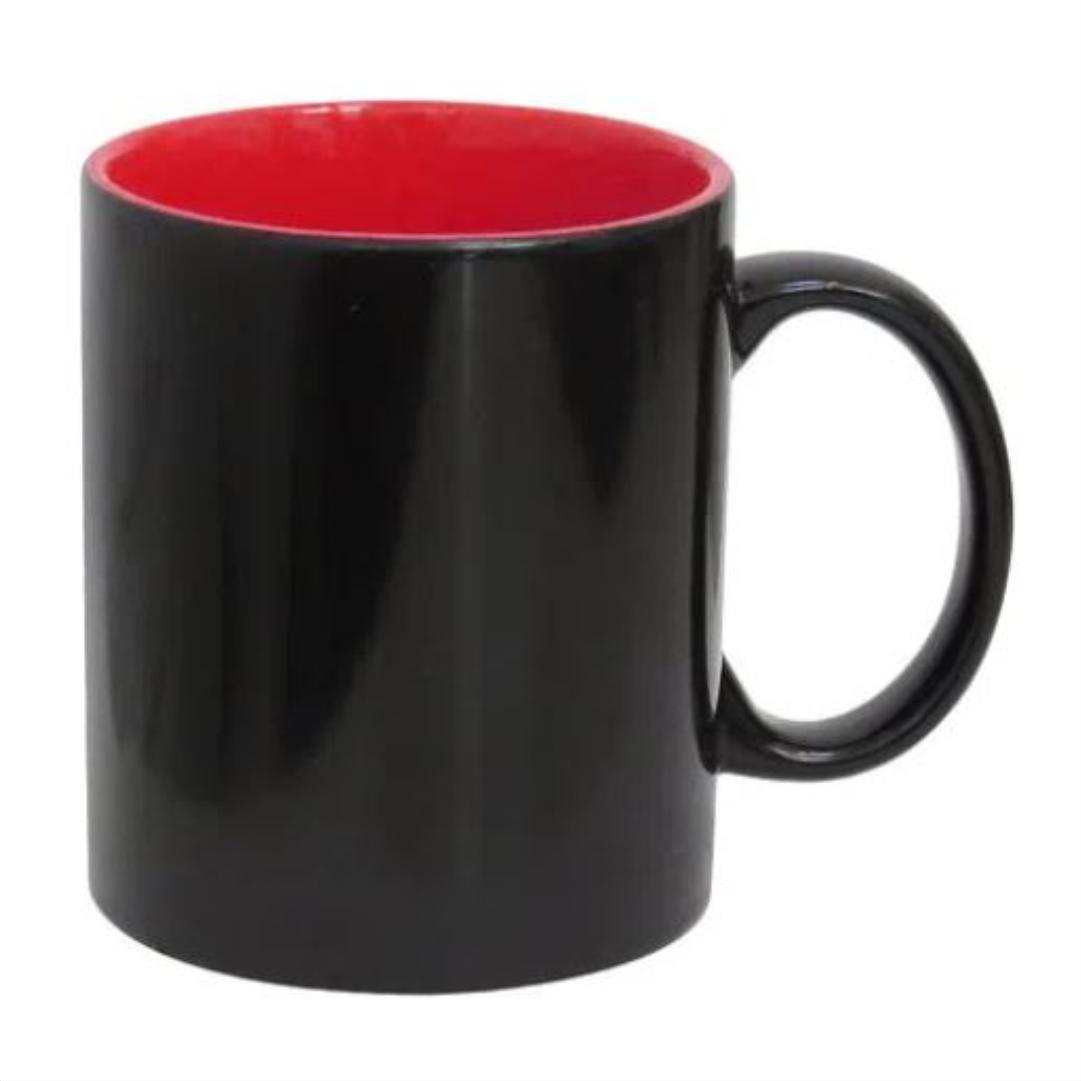 Caneca Mágica em Cerâmica p/ Sublimação Semi-Brilho  c/ Interior Vermelho - LiVE SUB - 325ml