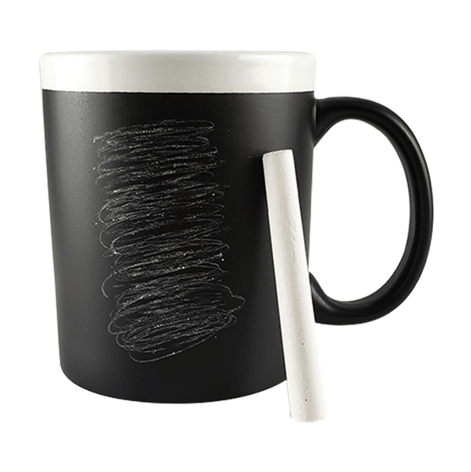 Caneca Quadro Negro com Giz Branco - Borda e Interior Branco - 325ml