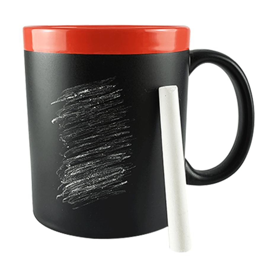 Caneca Quadro Negro com Giz Branco - Borda e Interior Vermelho - 325ml