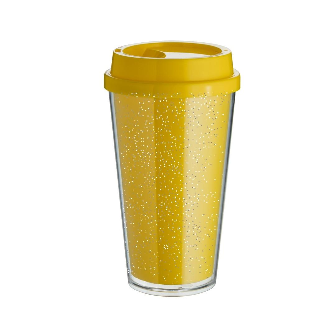 Copo Bucks Parede Dupla 500ml - Amarelo - Glitter - Transfer Laser