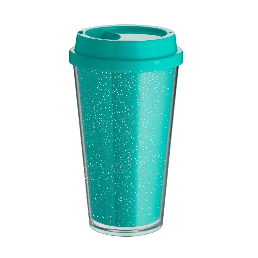 Copo Bucks Parede Dupla 500ml - Azul Tiffany - Glitter - Transfer Laser