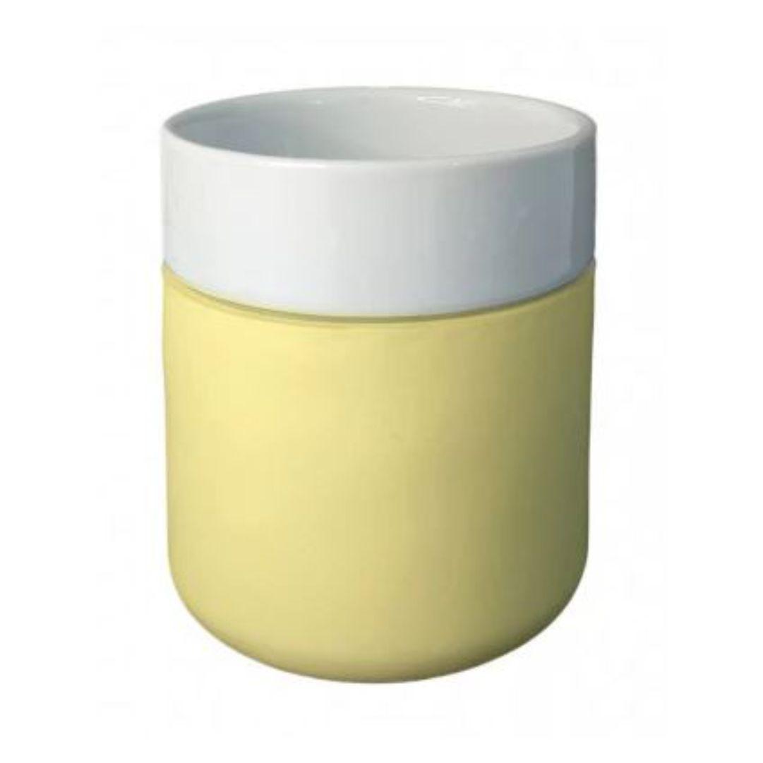 Copo De Cerâmica Sublimável C/ Capa De Silicone Creme - 260ml