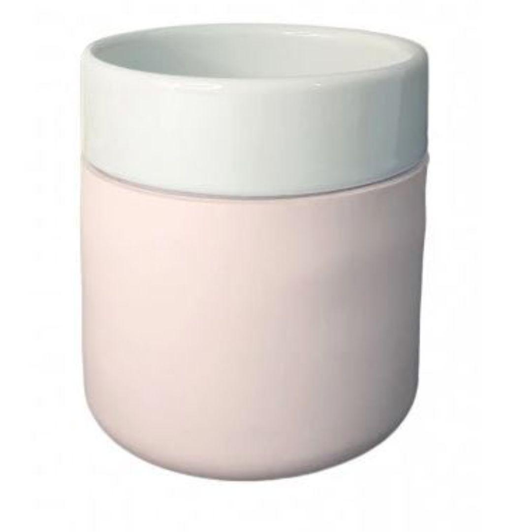 Copo De Cerâmica Sublimável C/ Capa De Silicone Rosa - 260ml