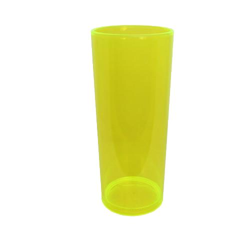 Copo Long Drink Amarelo Neon Translúcido