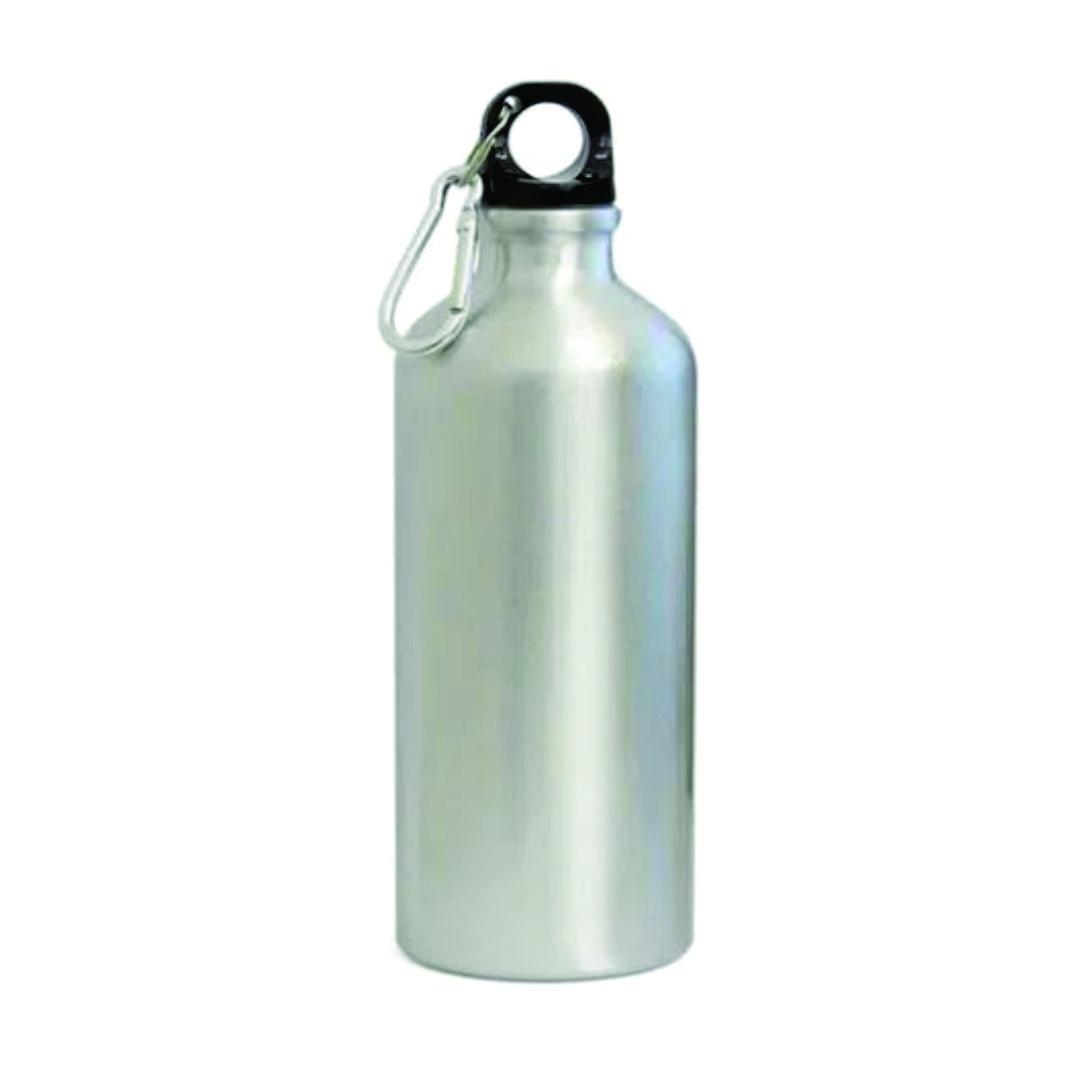 Garrafa de Alumínio com Mosquetão para Sublimação Prata - 600ml - LiVE SUB