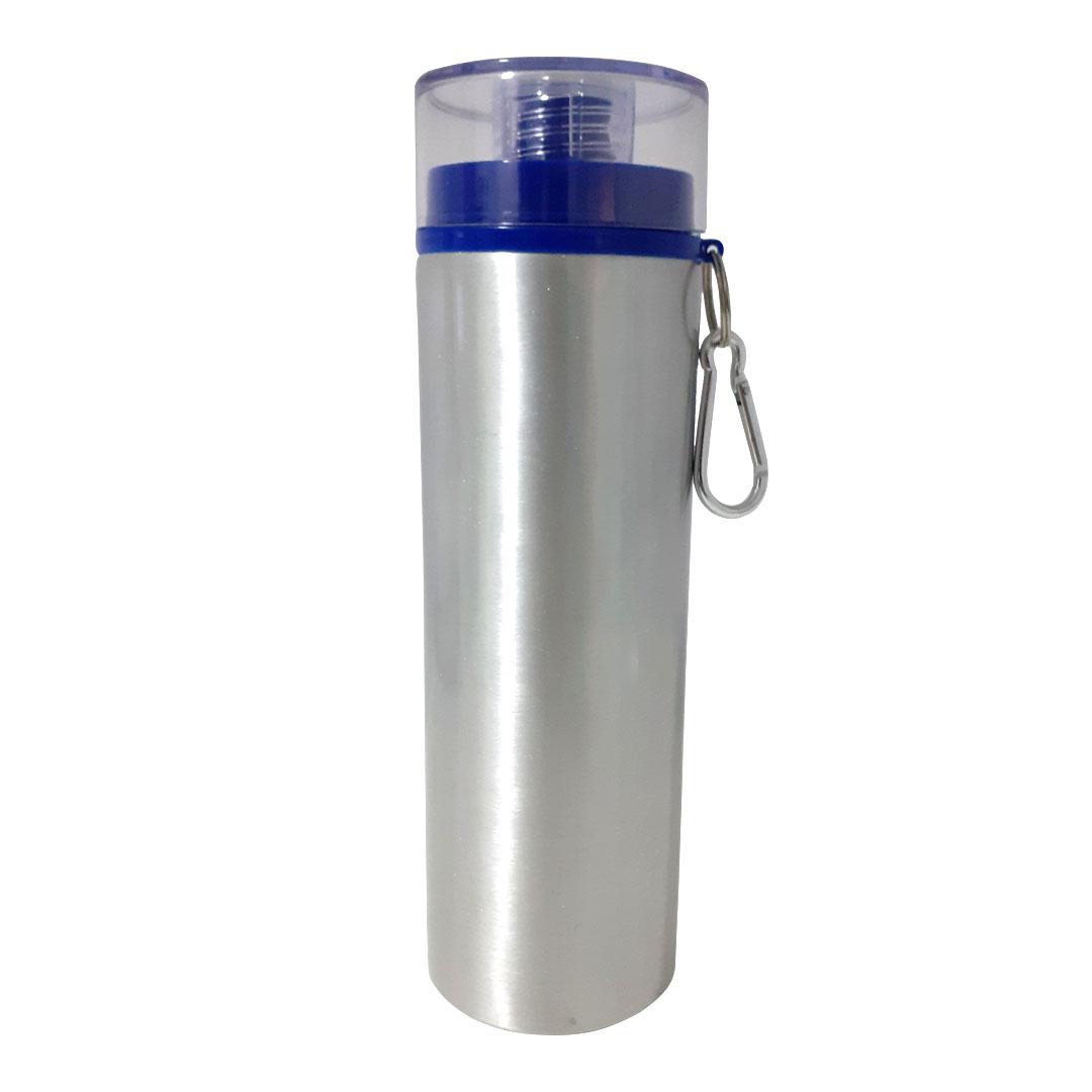 Garrafa de Alumínio Para Sublimação com Mosquetão e Detalhe Azul