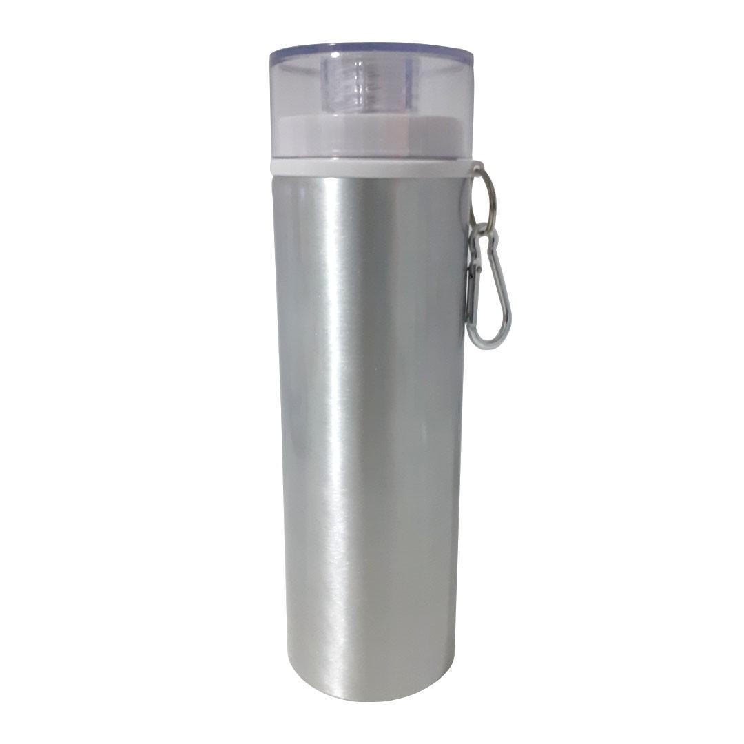 Garrafa de Alumínio Para Sublimação com Mosquetão e Detalhe Branco