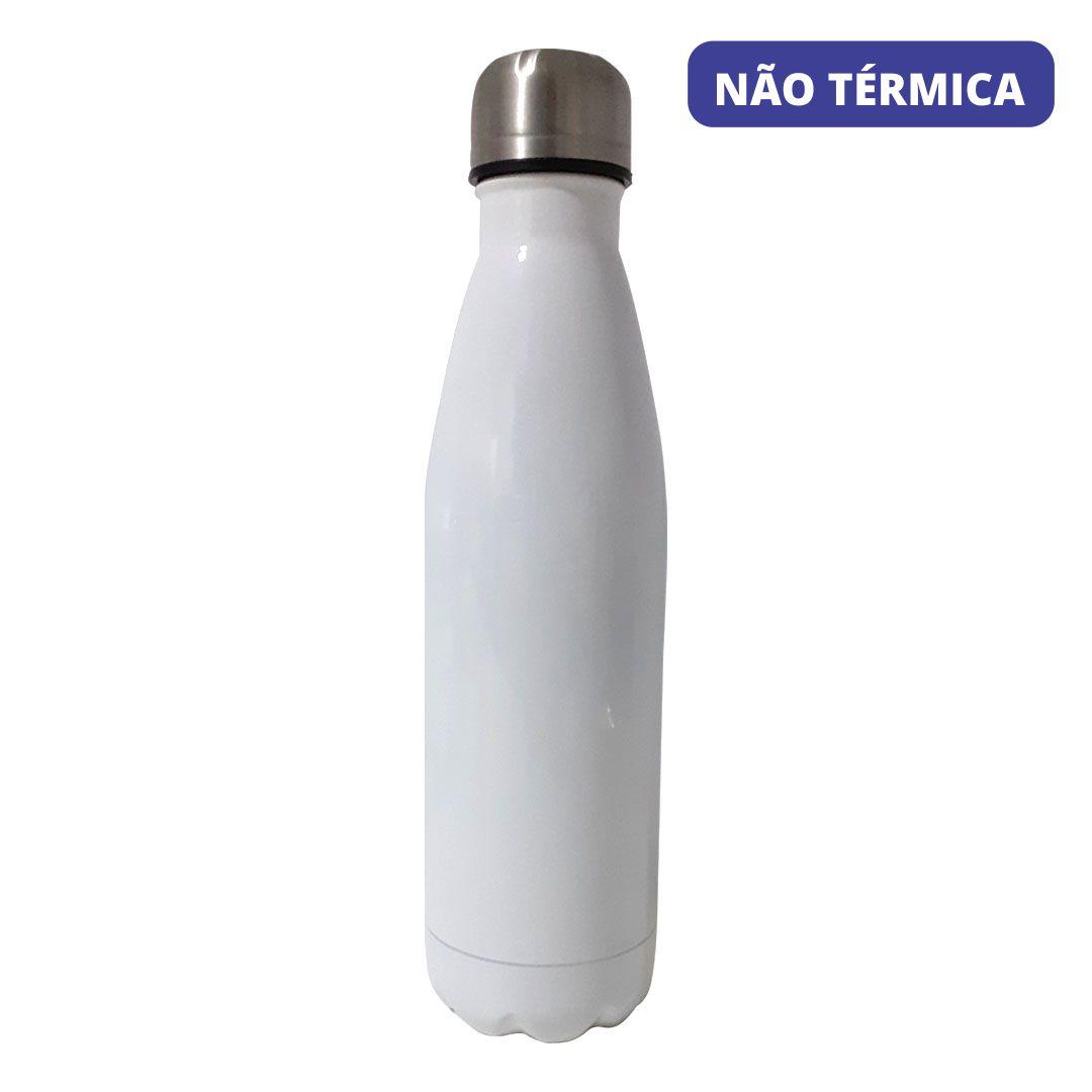 Garrafa Não Térmica de Inox Branca Modelo Cola - 500ML