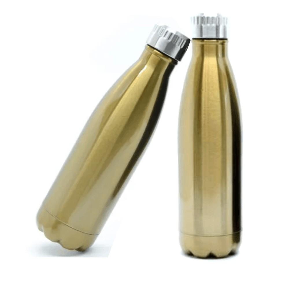 Garrafa Térmica de Inox Dourada Modelo Cola - 500ml