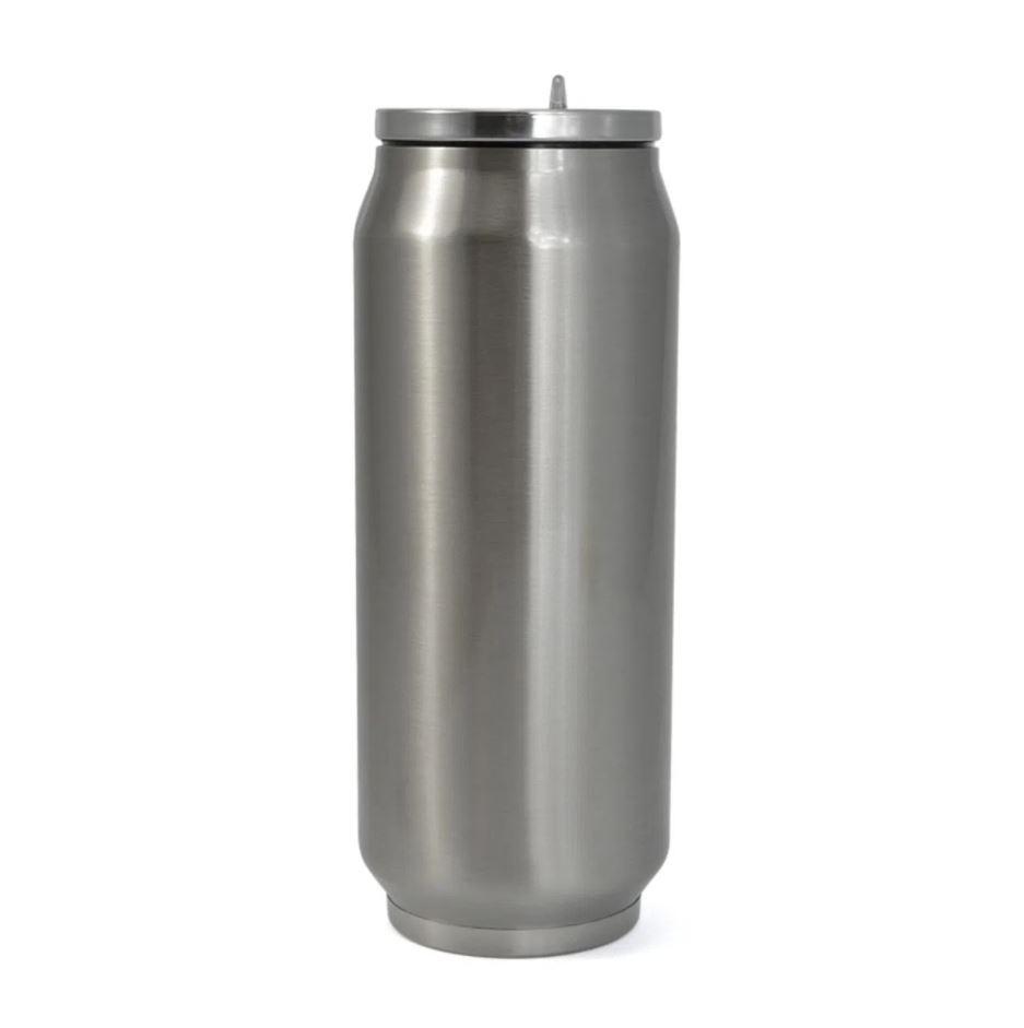 Lata Semi-Térmica de Inox com Canudo e Parede Dupla Para Sublimação - Branca - 350ml