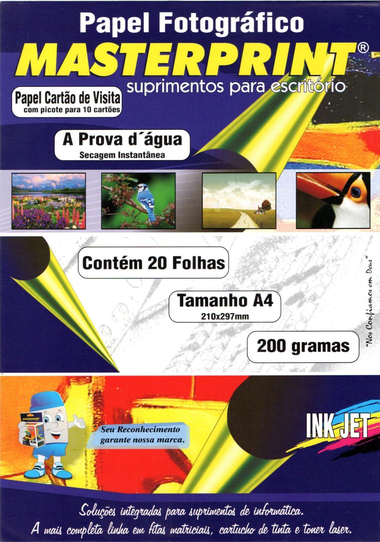 Papel Cartão de Visita a Prova D'água - Masterprint - 200g - A4 - C/ 20 Folhas