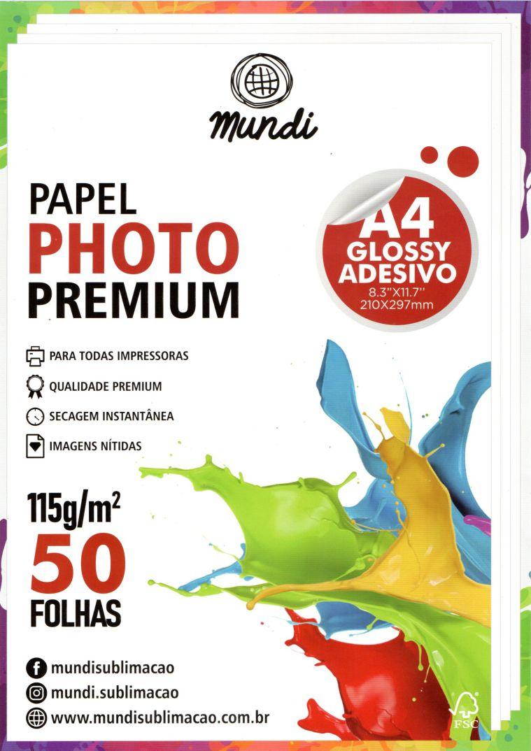 Papel Fotográfico Adesivo - Premium Glossy - 115g - Mundi - 50 folhas