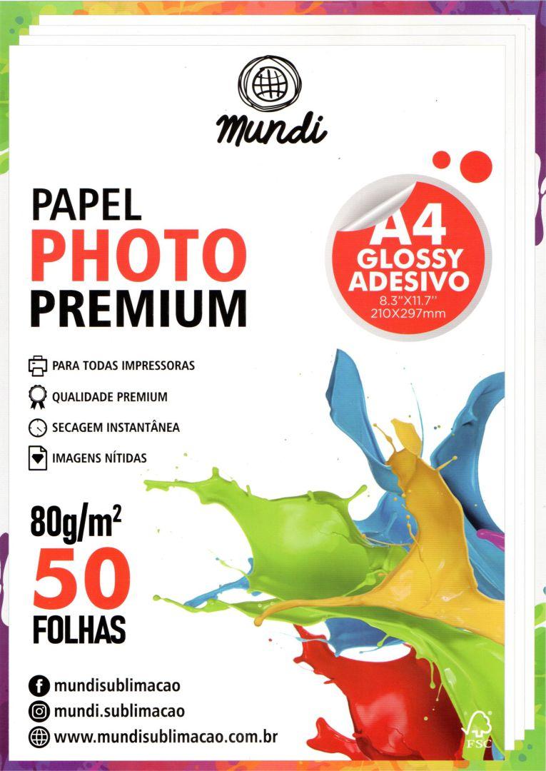 Papel Fotográfico Adesivo -  Premium Glossy - 80g - Mundi - 50 Folhas