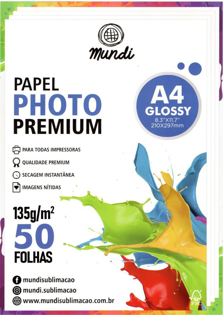 Papel Fotográfico Premium Glossy - 135g - Mundi -  A4 - 50 folhas