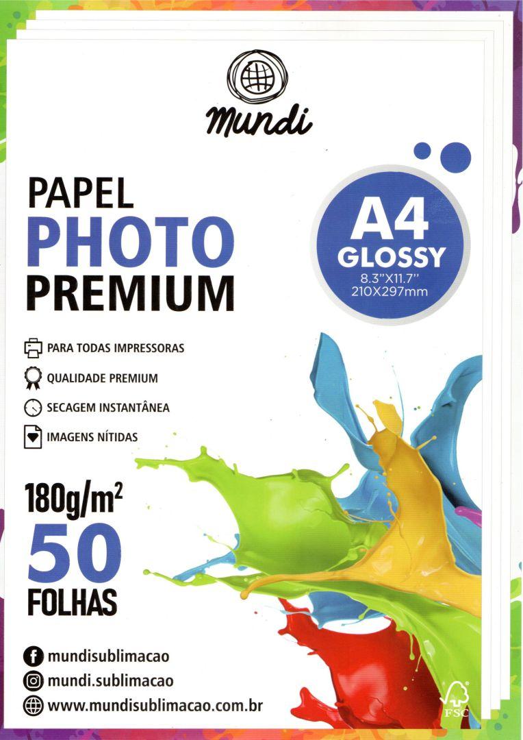 Papel Fotográfico Premium Glossy - 180g - Mundi - A4 - 50 folhas