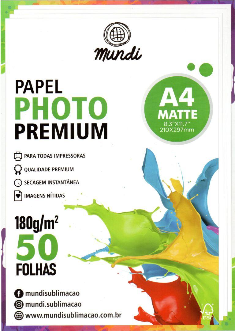 Papel Fotográfico Premium Matte - 180g - Mundi - A4 - 50 folhas