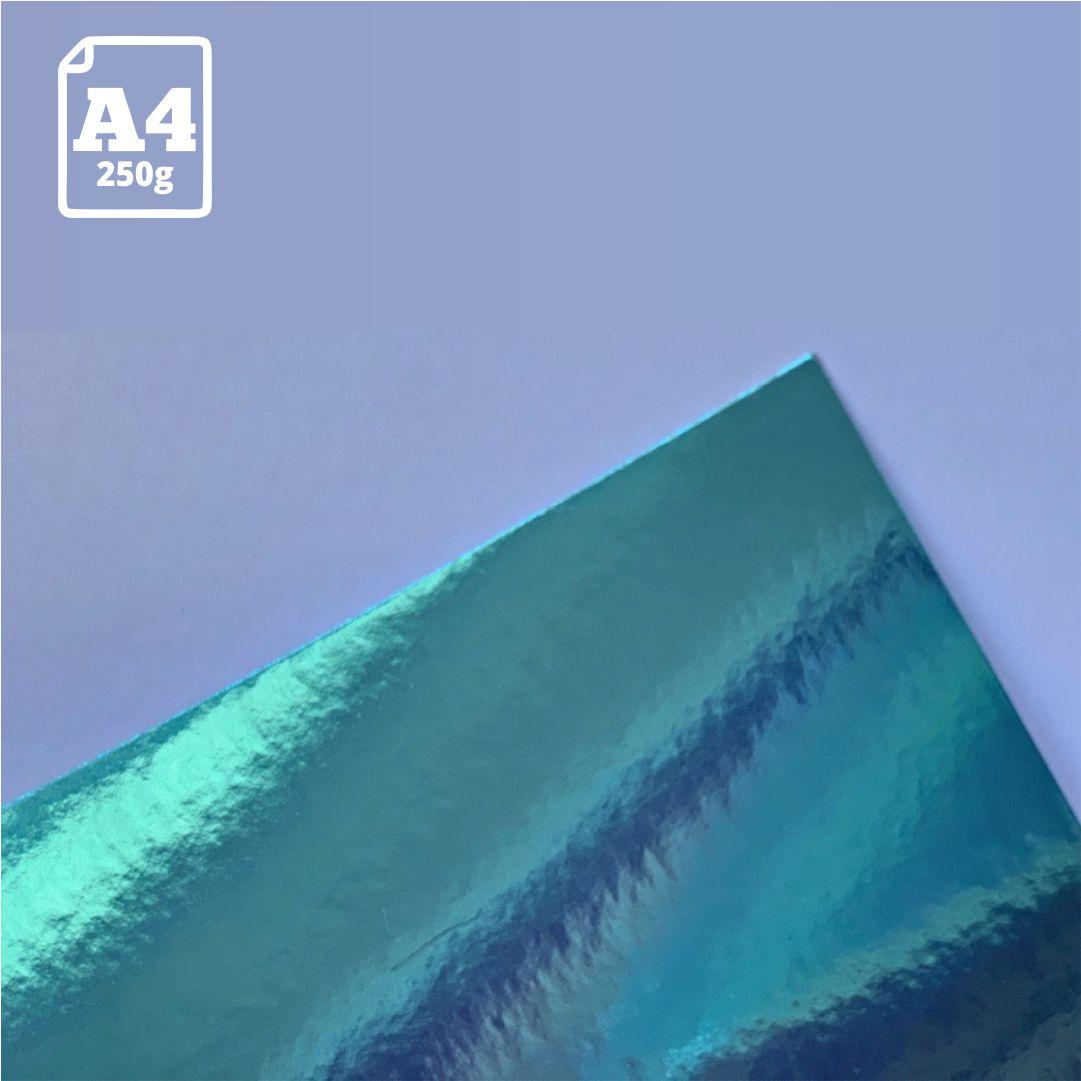 Papel Laminado Azul - 250g - A4 - 1 und - Metallik