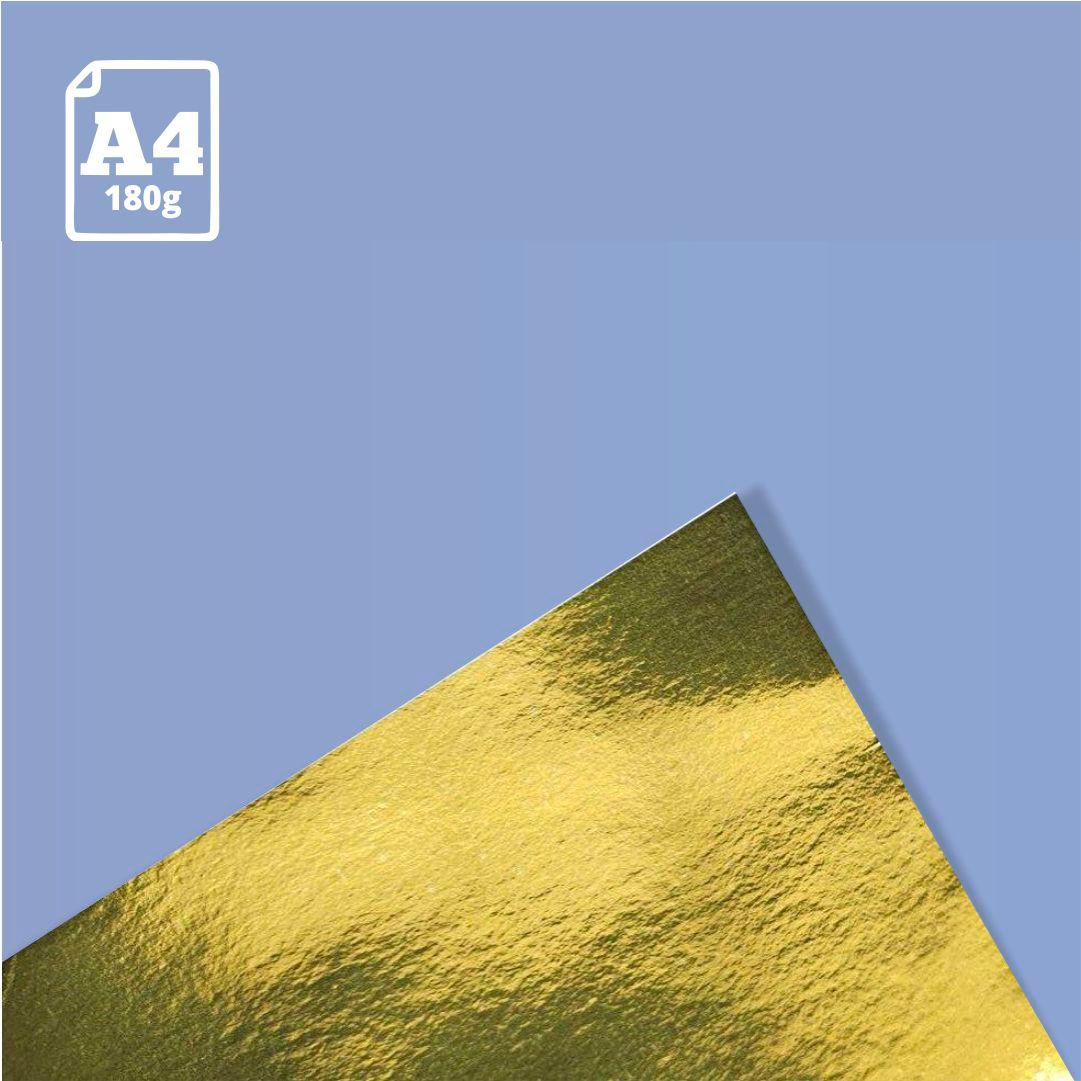 Papel Laminado Ouro - 180g - A4 - 1 und - Metallik