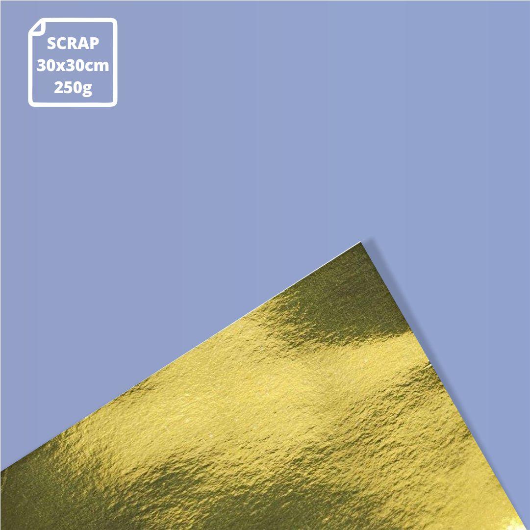Papel Laminado Ouro - 250g - Scrap - 30x30cm - 1 und - Metallik