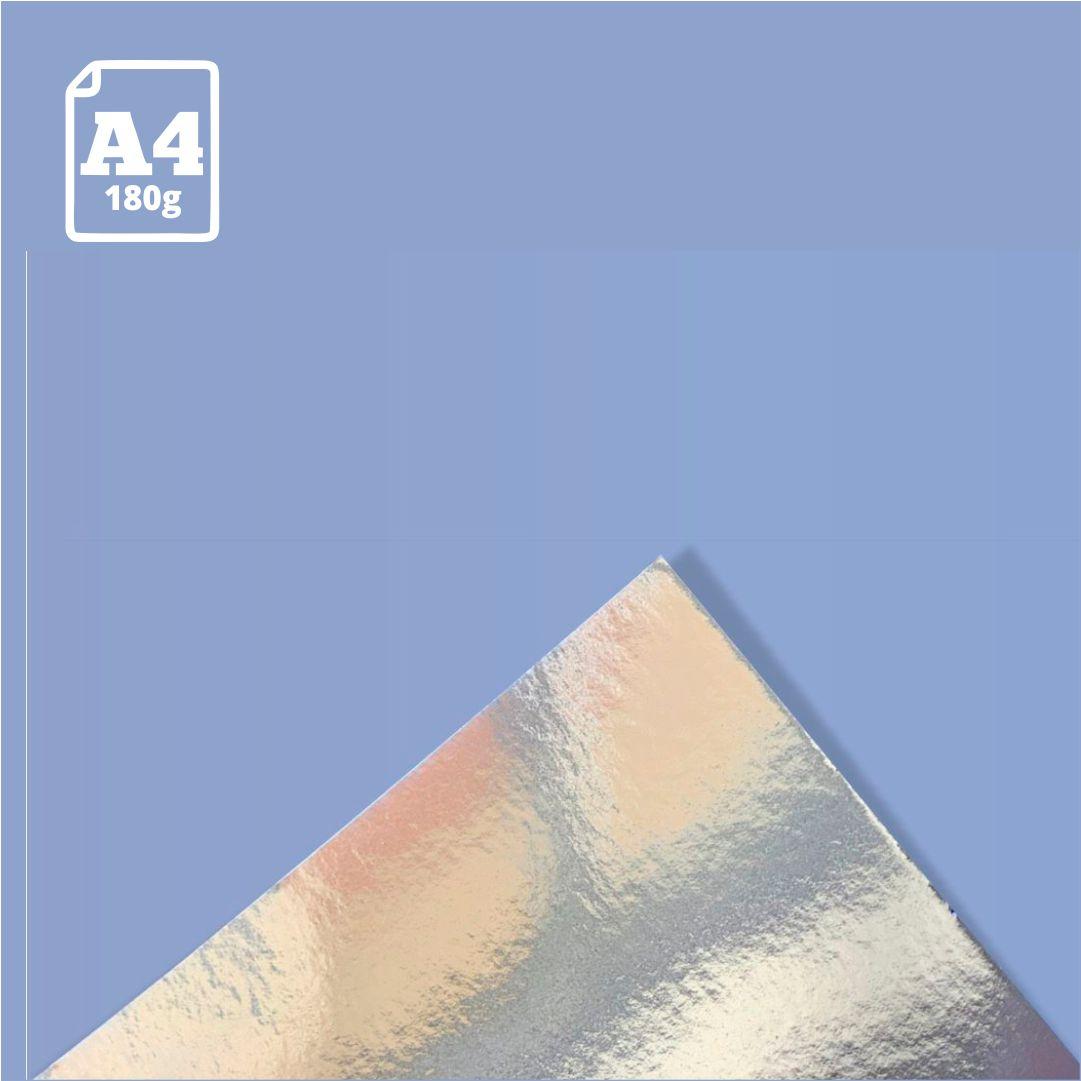 Papel Laminado Prata - 180g - A4 - 1 und - Metallik