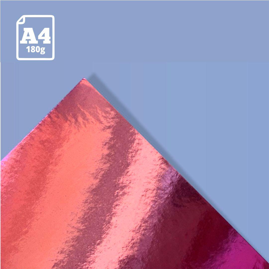Papel Laminado Rosa  - 180g - A4 - 1 und - Metallik