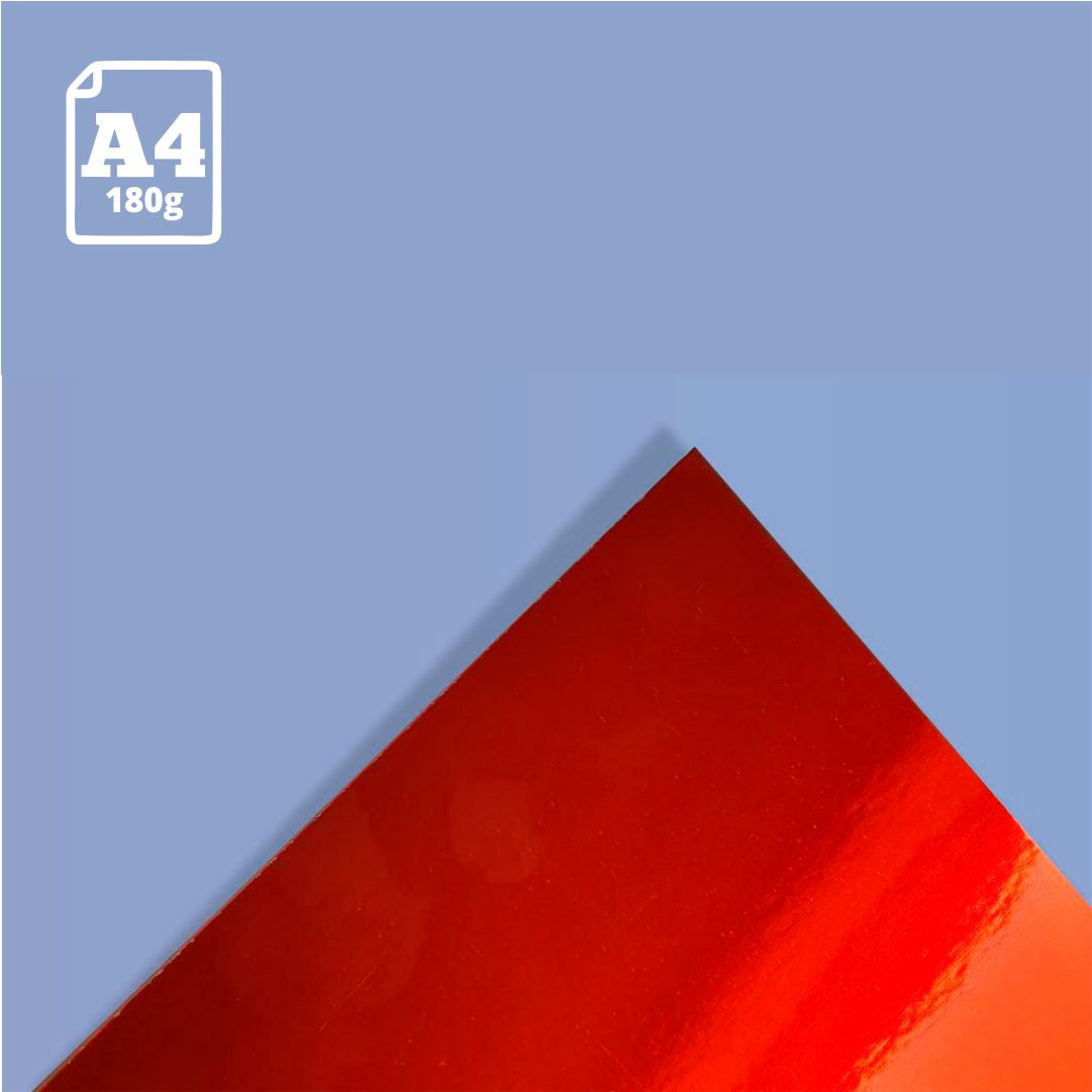 Papel Laminado Vermelho - 180g - A4 - 1 und - Metallik