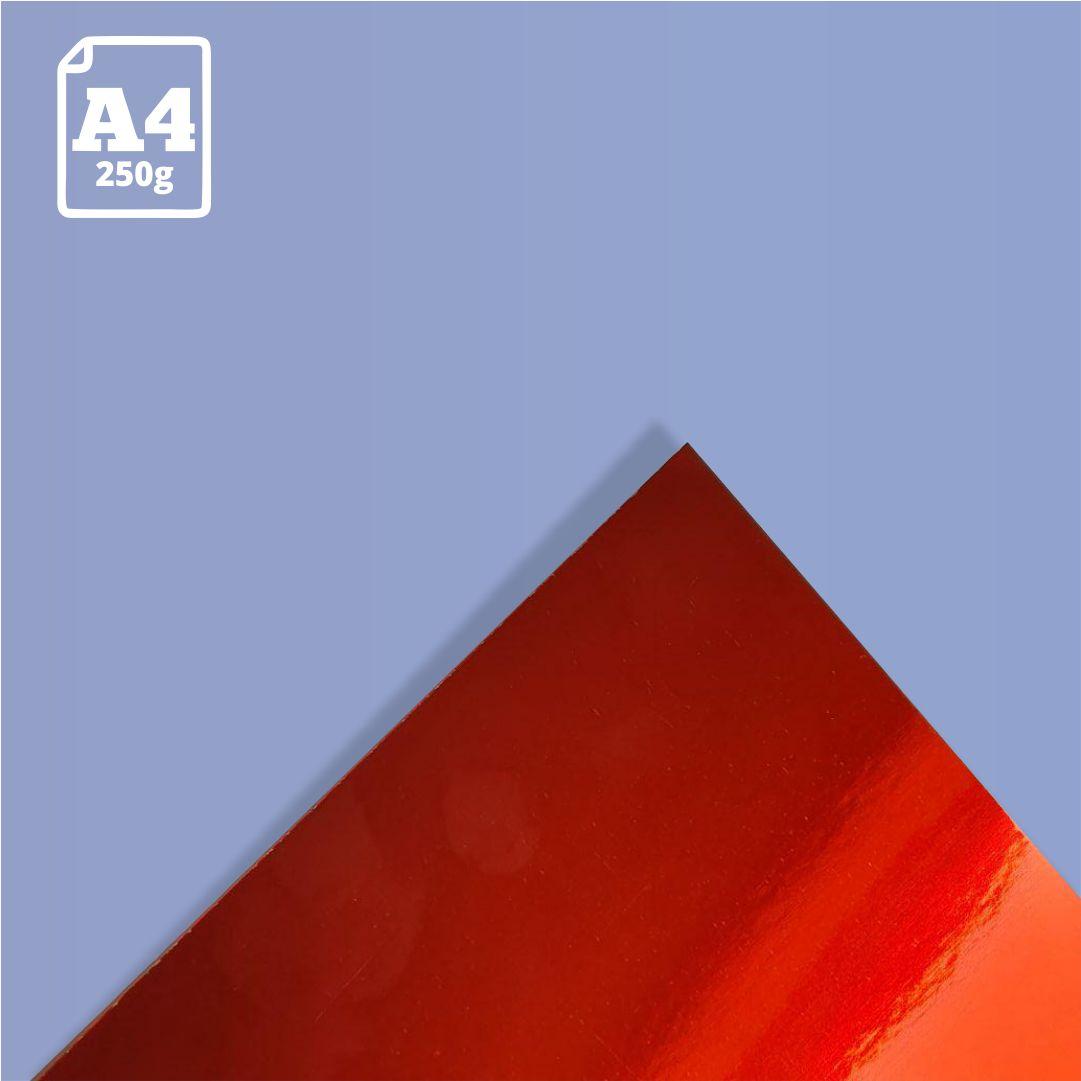 Papel Laminado Vermelho - 250g - A4 - 1 und - Metallik