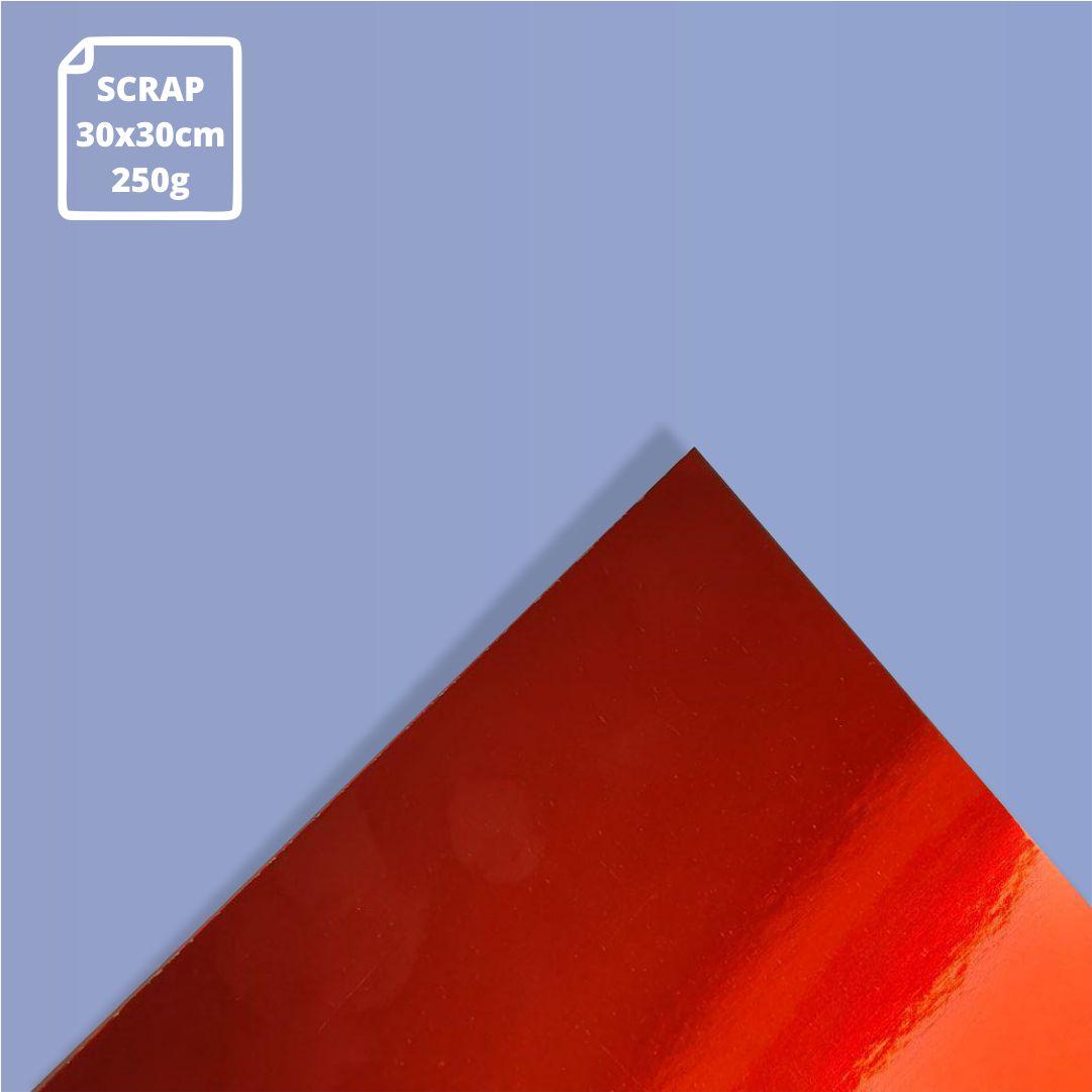Papel Laminado Vermelho - 250g - Scrap - 30x30cm - 1 und - Metallik