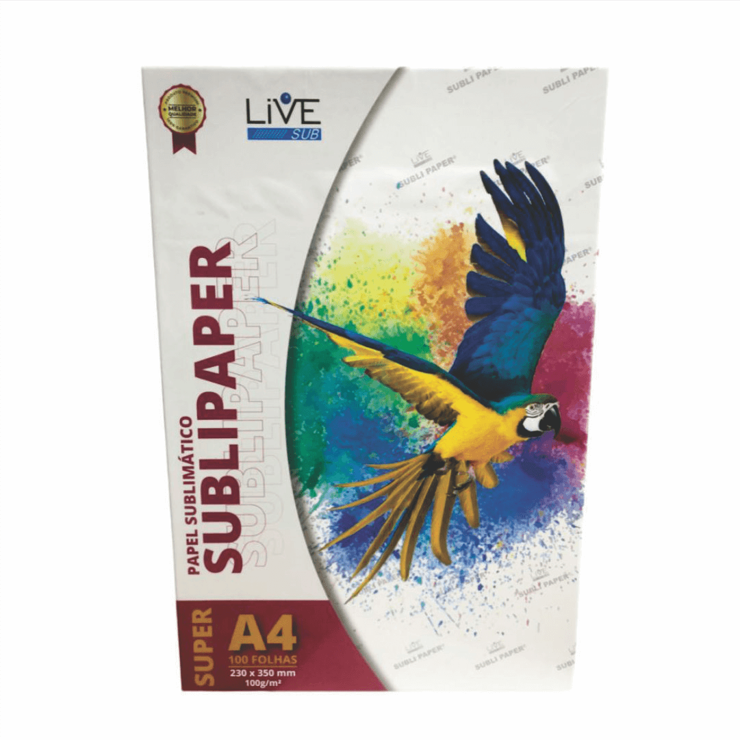 Papel Sublimático Sublipaper Super A4 - LiVE SUB - Pacote c/ 100 folhas