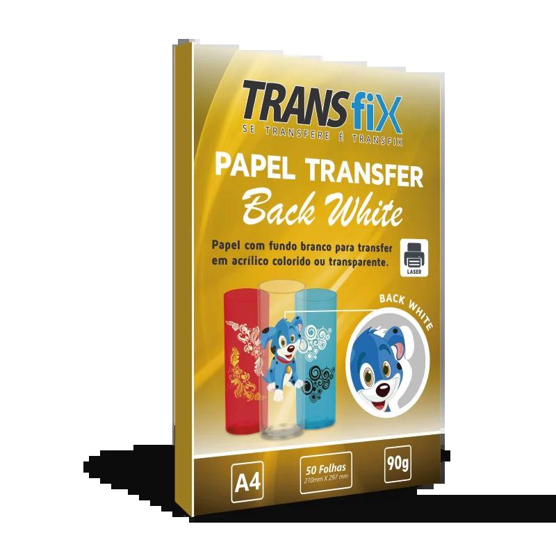 Papel Transfer Laser Back White Fundo Branco A4 Transfix 90g - 50 Folhas