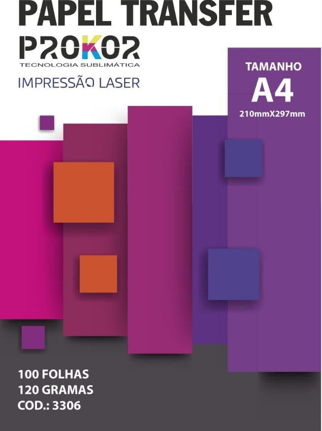 Papel Transfer Laser Prokor A4 120g com 100 Folhas