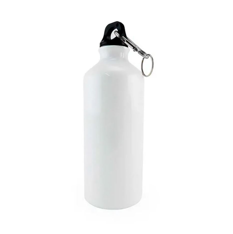 Squeeze de Alumínio Branco com Mosquetão Para Sublimação - 500ml