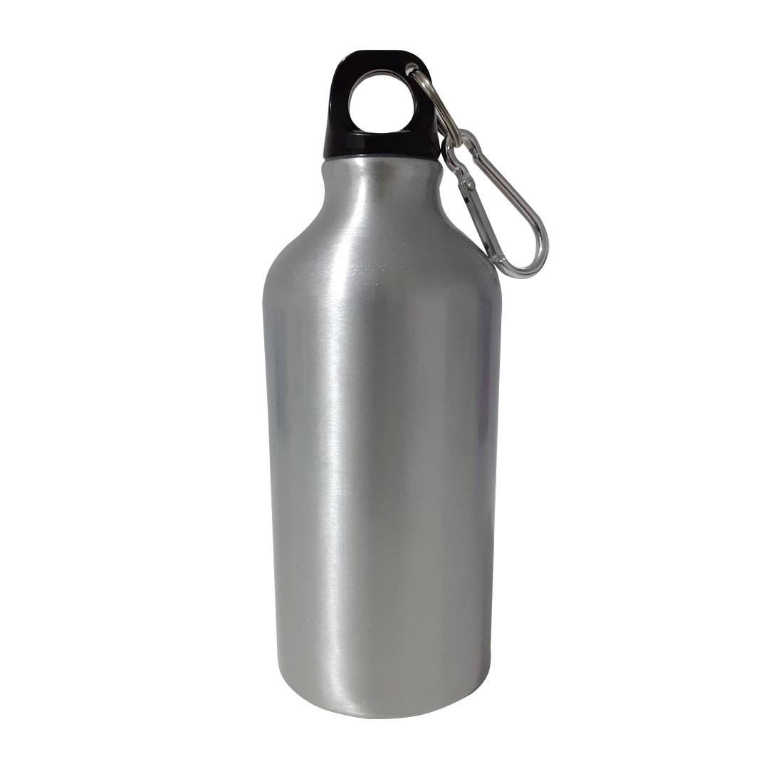 Squeeze de Alumínio Prata com Mosquetão Para Sublimação - 500ml