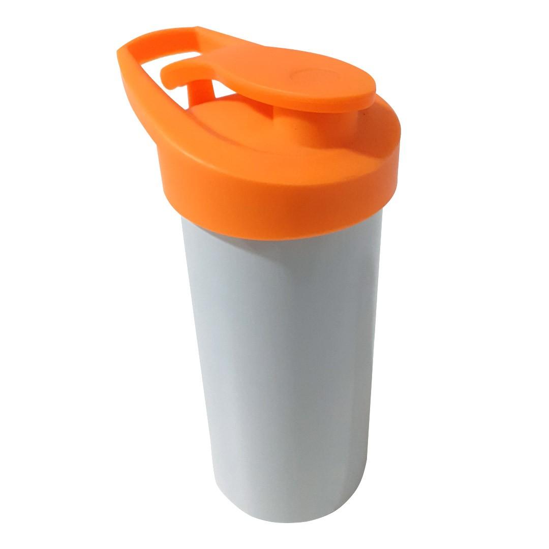 Squeeze de Polímero Branco com Tampa Laranja Para Sublimação - SFCT - 500ml