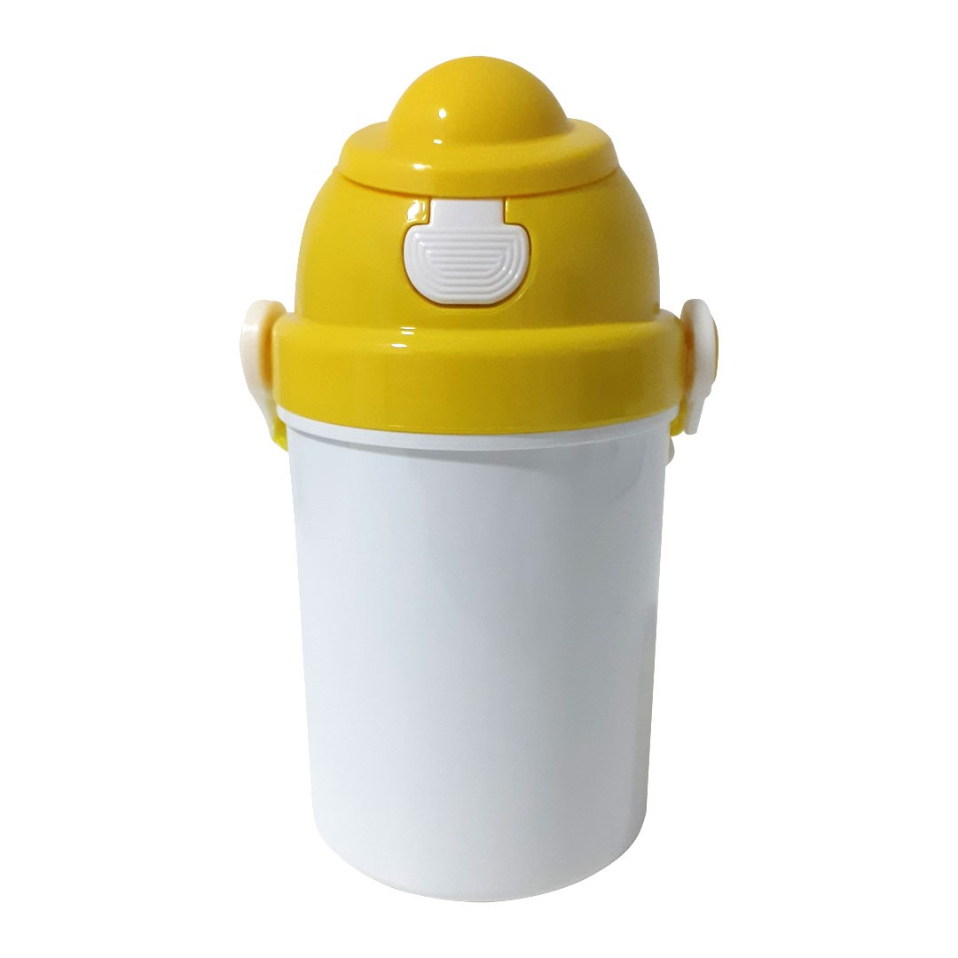 Squeeze Infantil em Polímero com Tampa e Tirante Amarelo - 400ml