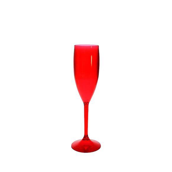 Taça Champanhe de Acrílico Vermelha Neon
