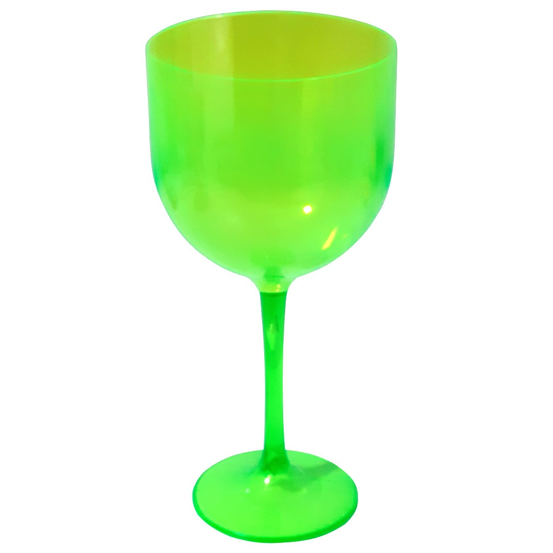 Taça de Gin Verde Neon de Acrílico Translúcido